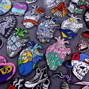 DIY Heart/Embroidery Patch Van Gogh Embroidered Patches For Clothing Iron on Patches On Clothes Stripe Punk Patch Sticker Custom prajna van gogh patch military biker patch punk applique iron on embroidered patches for clothes stripes stickers on clothes diy