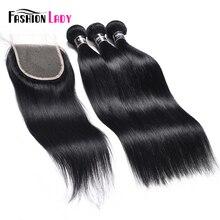 ファッション女性事前色人間の毛髪の束 3 バンドルにレースクロージャー 1 # ジェット黒フリー製品ストレート非レミーの髪