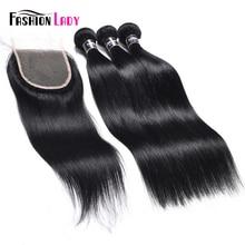 แฟชั่น Lady Pre สี Human Hair 3 รวมกลุ่มกับลูกไม้ปิด 1 # Jet สีดำฟรีตรง Non Remy Hair