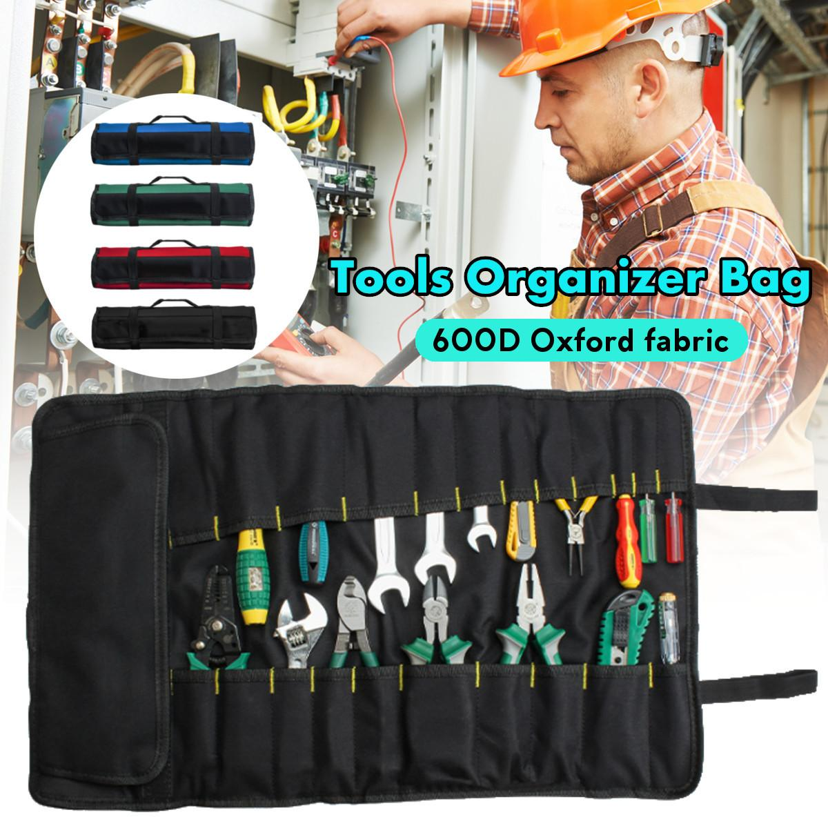 58x35CM Oxford Canvas Multifunction Tool Bags Practical Carrying Handles Roller Bags Chisel Electrician Toolkit Instrument Case
