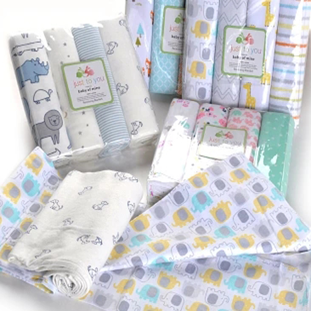 4 Pcs/lot 100% Cotton Flannel Diaper Muslin Diaper Baby Blanket Cartoon Print Baby Bath Swaddle Soft Children's Muslin Swaddle