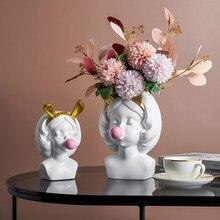 Creative Girls Nordic Flower Pot Resin Pots for Plants Garden Pots TV Counter Top Flower Pot Modern Living Room Decor Ornaments