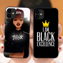 Queen Black Girl Quotes Luxury I Am Excellence Soft Back Cover Phone Case for iPhone 11 Pro Max 6 6S 7 8 Plus X XS MAX XR