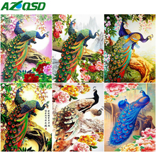 AZQSD Diamond Painting Peacock Full Square/Round Drill Embroidery Animal Mosaic Rhinestones Gift Handmade Home Decor