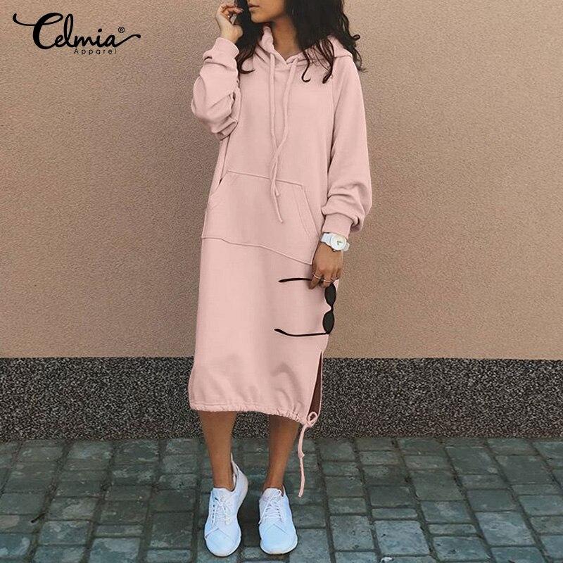 Женское платье с капюшоном Celmia, зимнее теплое флисовое платье с длинным рукавом и капюшоном на завязках 5XL|Платья| | АлиЭкспресс