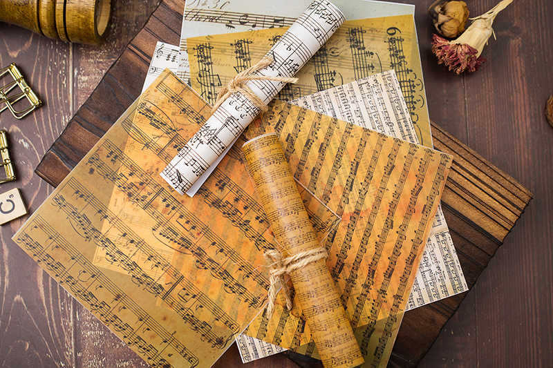 KSCRAFT 8 piezas de fondo con marcador de música, almohadillas de papel álbum de recortes de ácido sulfúrico, papel Origami, tarjetas de arte, papel para álbum de recortes DIY