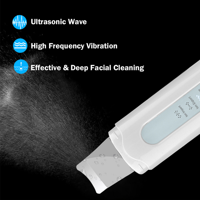 Ultrasonic Ion Skin Scrubber EMS Face Massager Facial Cleansing Ion Import Whitening Pore Cleaner Skin Peeling Shovel Device 2