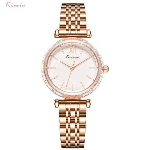 Relógio de Quartzo Relógio de Cristal de Luxo Pulseira de Aço Moda à Prova Relógio de Pulso Kimio Vestido Feminino Inoxidável Relógios Dwaterproof Água