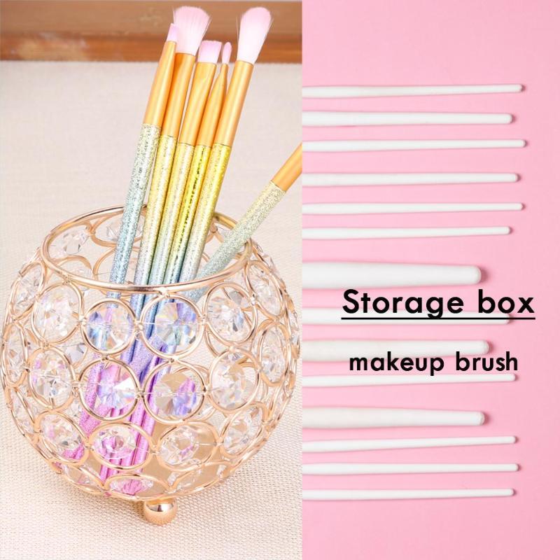 Fine European Style Round Crystal Makeup Brush Storage Box Jewelry Organizer Makeup Cosmetic Organizer Box