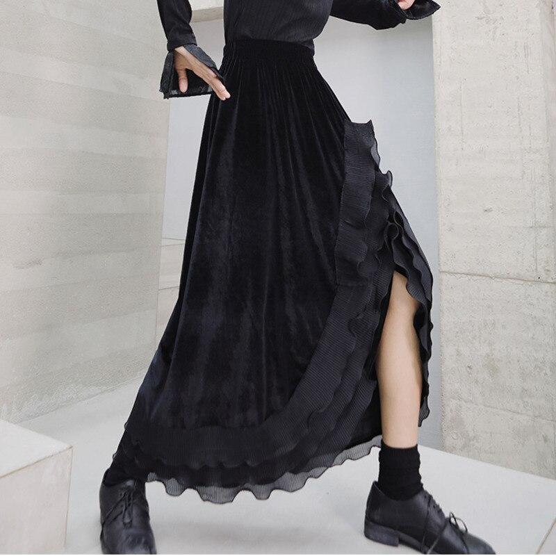 LANMREM Solid Color Split Lace Splice Design Skirt Women Streetwear Loose Velvet Irregular A-line Bottom 2020 New Spring PD205