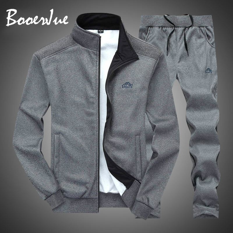 Tracksuit Men Sportswear Fashion Mens Set Two Pieces Zipper Warm Sweatshirt Jacket+Sweatpants Moleton Masculino Sets Sweatsuits