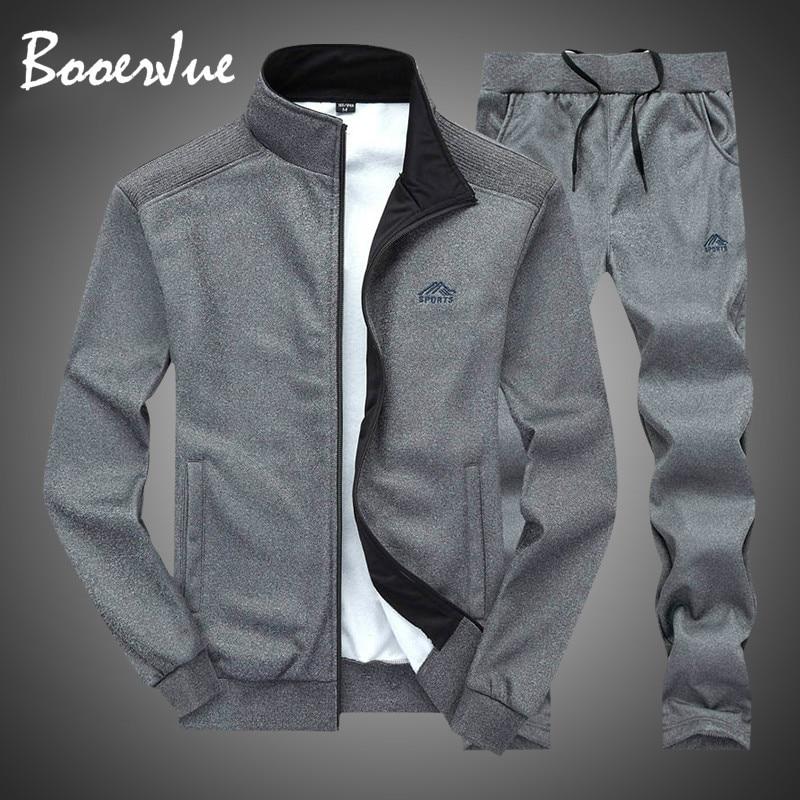 Tracksuit Men Sportswear Fashion Mens Set Two Pieces Zipper Warm Sweatshirt Jacket+Sweatpants Moleton Masculino Sets Sweatsuits