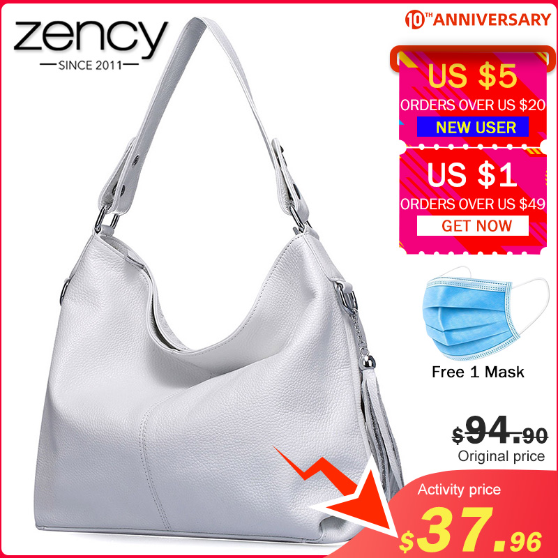 Zency Elegant Women Shoulder Bag 100% Genuine Leather Fashion Female Messenger Handbag Tassels Charm White Crossbody Purse Black
