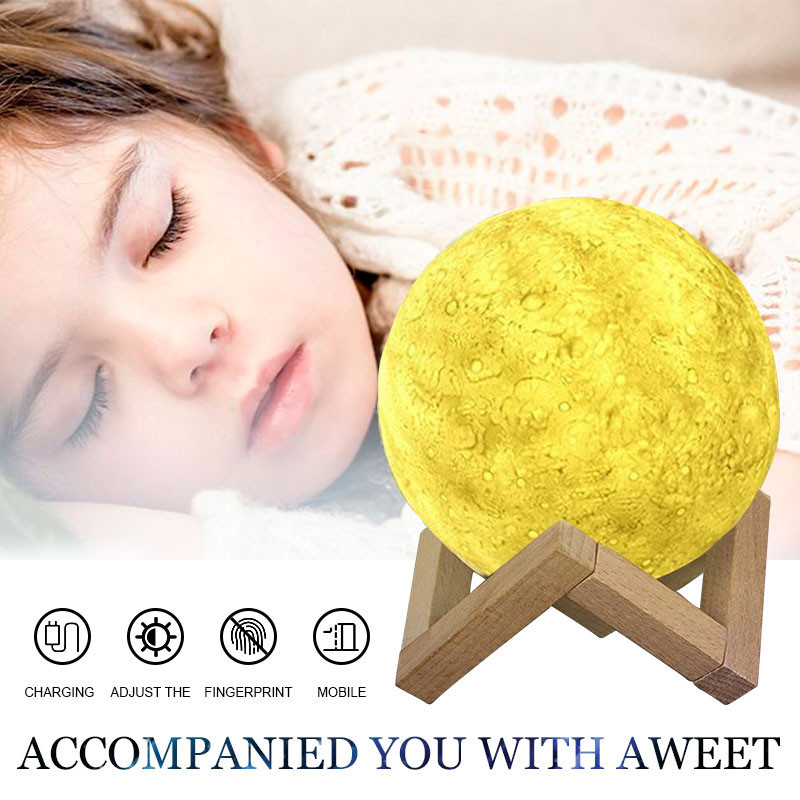 Led Night Light 3D Print Moon Lamp Rechargeable Touch Switch Bedroom Bookcase Night Light Home Decor With 6 Model