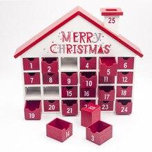 YUYU DIY красный дом в форме дня рождения деревянный Advent календарь с шкафчиками Упаковка конфет подарочные коробки новогодние украшения