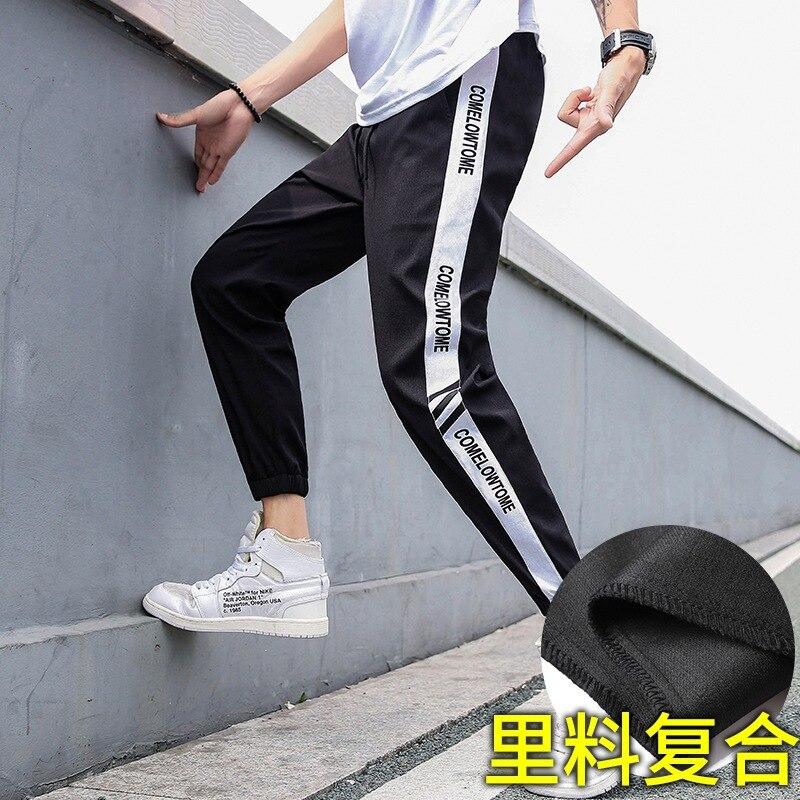 INS Ultra-huo Bao Kuan Capri Casual Pants Men's 2019 Autumn New Style Men Striped Letters Cha Bian Pants Trend