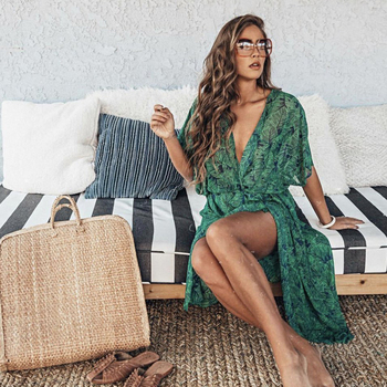 2020 Women Swimsuit Cover Up Sleeve Kaftan Beach Tunic Dress  2