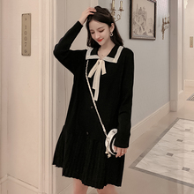 Harajuku Kawaii Knitted Dress Women Winter Autumn Sweet Bowtie Pleated Black Dresses Ladies Korean Casual Dress Long Sleeve S-XL bowtie chiffon long sleeve dress women korean vintage black print sweet ladies dresses autumn kawaii midi robe femme 2019 s xl