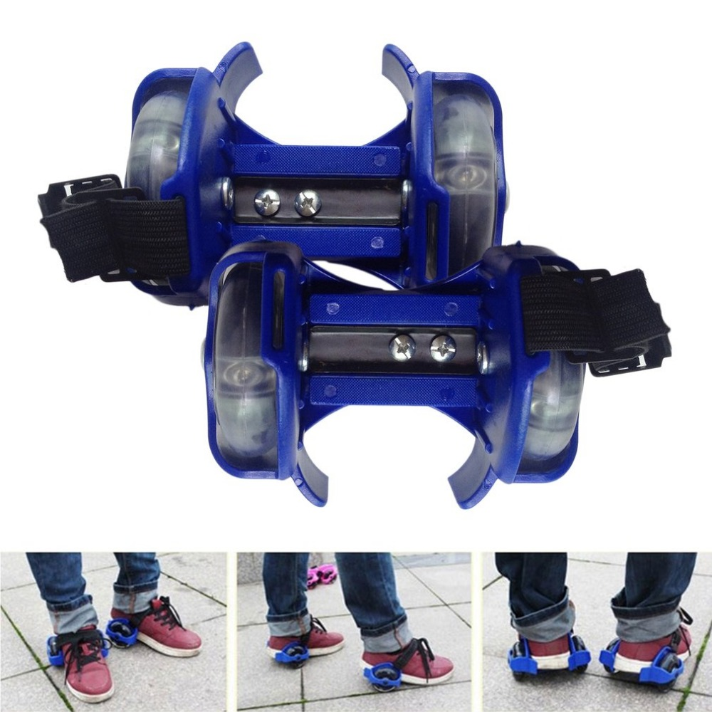 1Pair Light Flashing Roller Small Whirlwind Pulley Adjustable Simply Roller Skating Shoes With Dual Wheels For Children New
