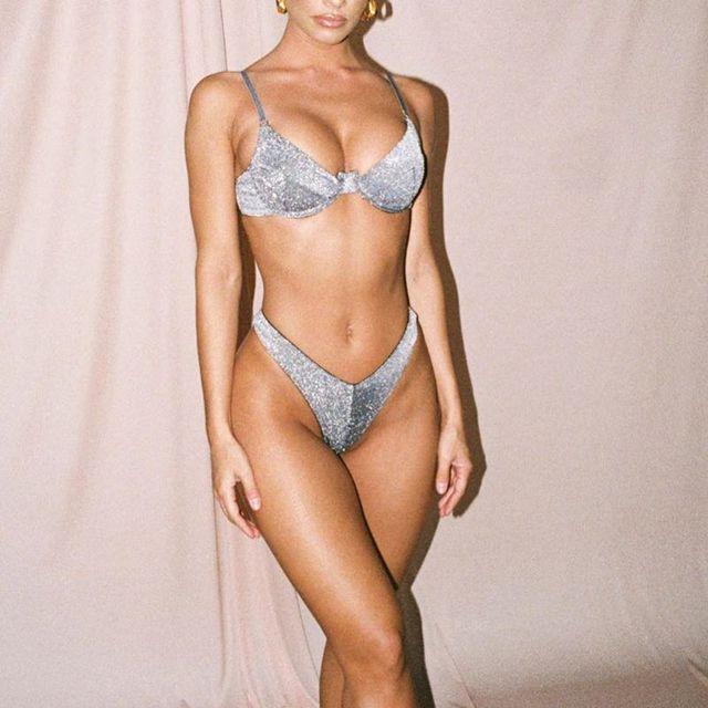 Conjunto de Bikini de dos piezas Sexy para mujer, traje de baño reflectante con brillo metálico, Sujetador Push Up, Tanga triángulo, traje de baño, ropa de Club