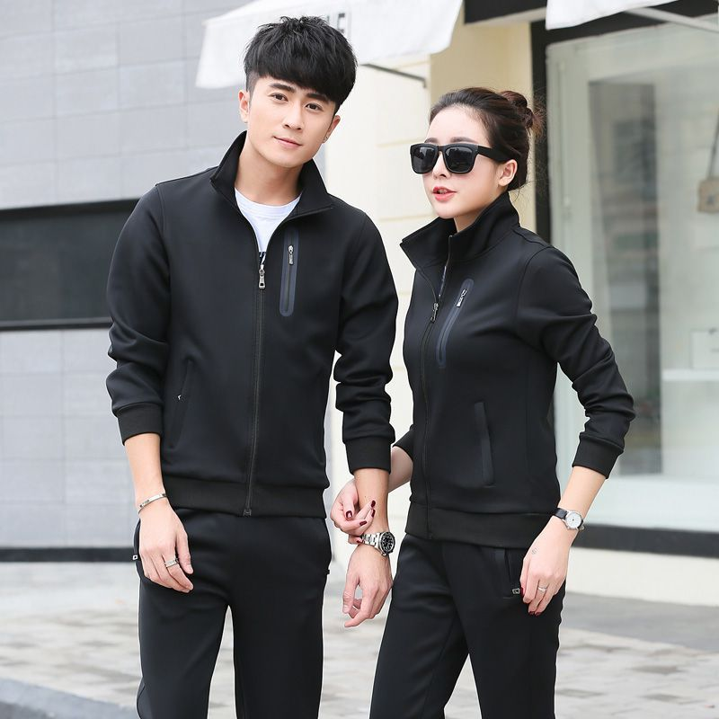 Couples Sports Set Men's Spring And Autumn Men's Women's Running Clothing Two-Piece Set Long-sleeved Sweater WOMEN'S Coat Sports