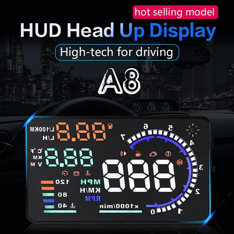 A8 5,5 дюймовый автомобильный дисплей на лобовое стекло HUD OBD II Предупреждение о ночной скорости AHS Автомобильный дисплей на лобовое стекло авт...