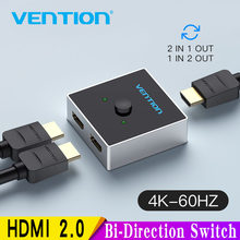 Vention HDMI Switch Dua Arah 2.0 HDMI 4K Switcher 1x 2/2X1 Adaptor 2 Di 1 Keluar Converter untuk PS4 Pro/4/3 TV Box HDMI Splitter(China)