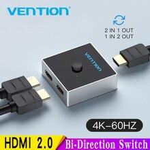 Vention HDMI Switch bi direction 2,0 4K, Adaptador 1x2/2x1, convertidor de Salida 2 en 1 para PS4 Pro/4/3 TV Box, HDMI Splitter