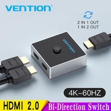Vention HDMI commutateur bi direction 2.0 HDMI 4K commutateur 1x 2/2x1 adaptateur 2 en 1 sortie convertisseur pour PS4 Pro/4/3 TV Box HDMI répartiteur
