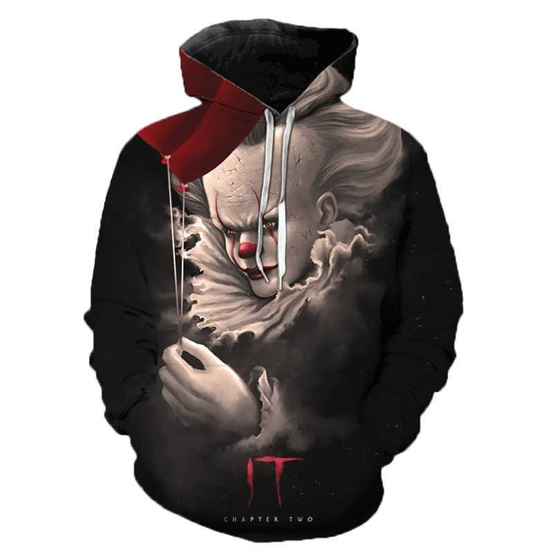 공포 영화 it 장 두 3d 인쇄 후드 티 스웨터 남성 여성 패션 캐주얼 재미 풀오버 it clown print pattern hoodies
