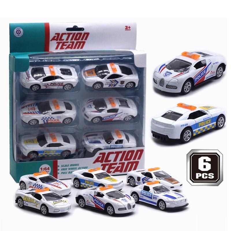 Diecast Scale1:64 Alloy Pull Back Oyuncak Araba Model Set Metal Simulation Police Sports Car Model Toys Vehicles For Children