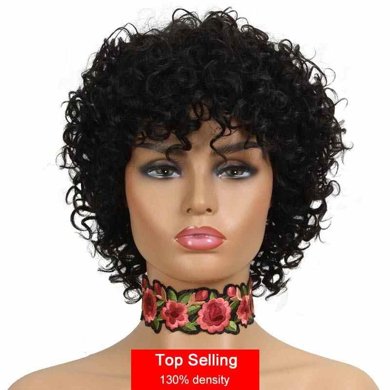 Rebecca krótkie kręcone ludzkie włosy peruki dla czarnych kobiet peruwiański Remy pełne peruki z grzywką sprężysty lok Blond czerwony czarny Cosplay peruki