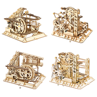ROKR Blocks Marble Race Run Maze Balls Track DIY 3D Wooden Puzzle Coaster Model Building Kits Toys for Drop Shipping