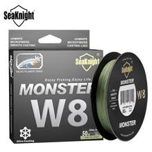 Seaknight marca w8 linha de pesca 150m 300 500 8 fios trançado linha de pesca multifilamento pe 15 20 30 40 50 80 100lb