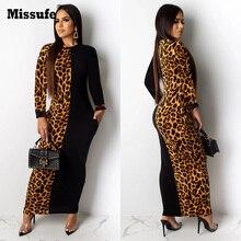 Missufe Autumn Long Sleeve Bandage Maxi Dress Leopard Patchwork Vestidos Slim Robe Elegant Plus Size Womens Dresses size