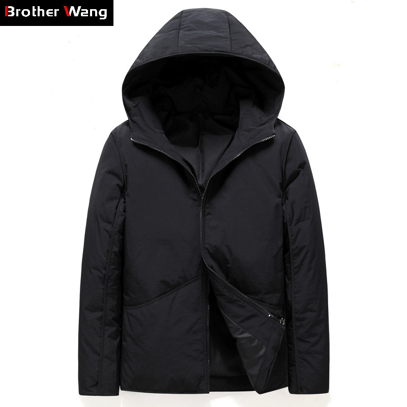 2019 Winter New Men's Warm White Duck   Down     Down   Jacket Fashion Casual Hooded Thick Warm Parka and   Coats   Male Brand Clothing