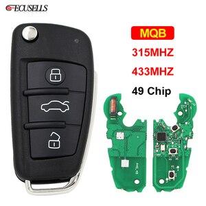 Image 1 - Modifiye MQB yarı akıllı uzaktan anahtar 3 düğme katlanır kapak akıllı araba anahtarı 315Mhz veya 433Mhz ID49 49 çip A6L için Audi A3