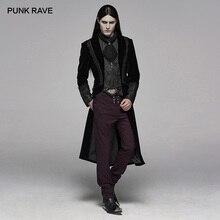 Мужской вельветовый жакет, вельветовый жаккардовый жакет средней длины в стиле панк для Хэллоуина, для клуба вечерние длинные пальто для косплея
