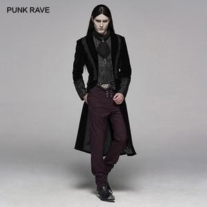 Image 1 - PUNK RAVE Mens Gothic Velvet Shuttle Weaving Jacquard Medium Length Jacket Halloween Club Party Cosplay Mens Long Coats
