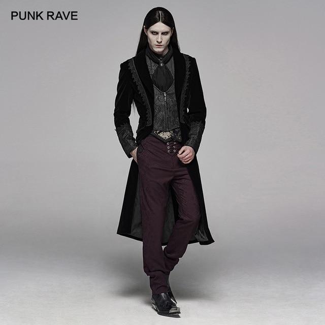 PUNK RAVE Mens Gothic Velvet Shuttle Weaving Jacquard Medium Length Jacket Halloween Club Party Cosplay Mens Long Coats