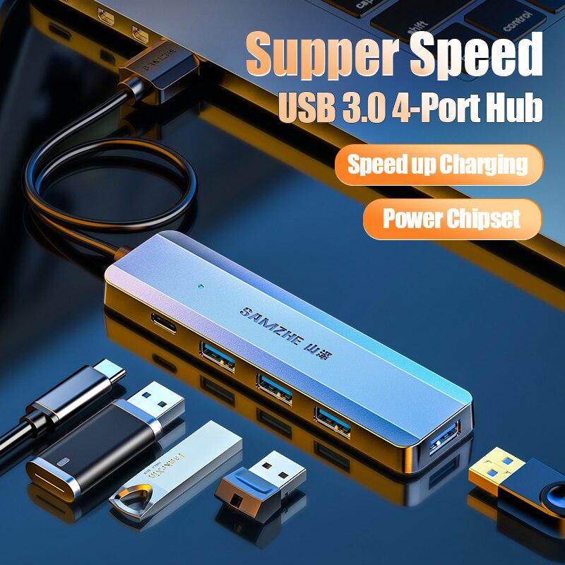 SAMZHE-concentrador USB de alta velocidad ultradelgado de 5 puertos, concentrador USB 3,0 de alta velocidad para múltiples dispositivos, ordenador, portátil, adaptador de PC de escritorio