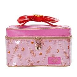 Женская сумка для макияжа из искусственной кожи с рисунком Сейлор Мун, многофункциональная Дамская косметичка для мытья, путешествий, косм...