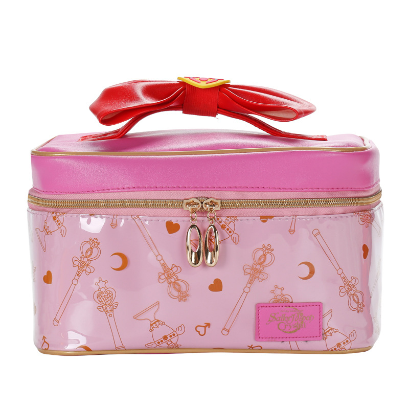 Cartoon Sailor Moon Women PU Leather Makeup Bag Multifunction Ladies Wash Toiletry Travel Cosmetic Organizer Storage Bag