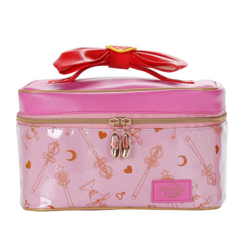 Cartoon Sailor Moon Women PU Leather Makeup Bag Multifunction Ladies Wash Toiletry Travel Cosmetic Organizer Storage Bag