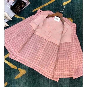 Image 3 - Cosmicchic 2020 Runway Women Tweed Jacket Single Breasted Pink Plaid Pocket Short Coat Weave Jackets Elegant Office Clothes