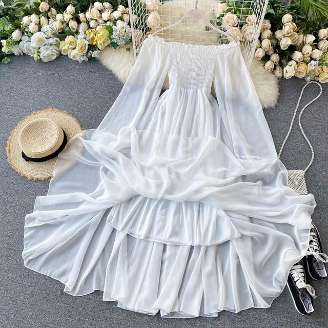 Off Shoulder Chiffon Fairy Style Dress 4
