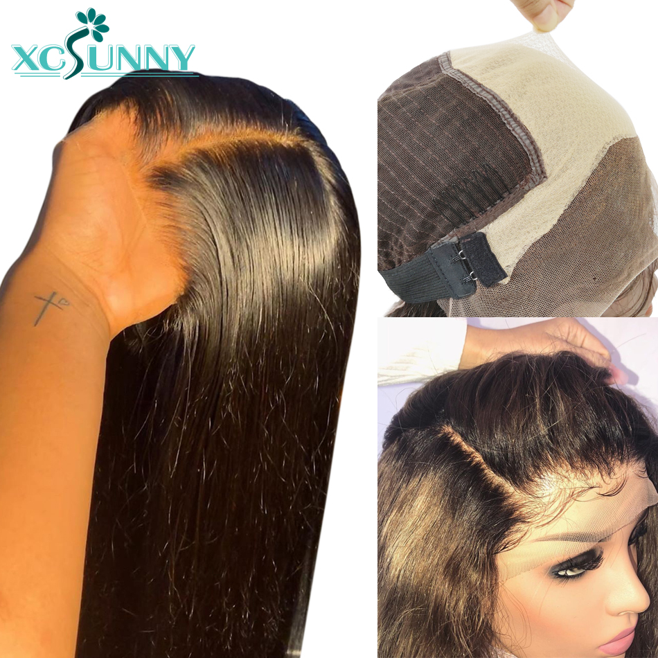 Fake Scalp 13x6 Straight Lace Front Human Hair Wigs PrePlucked Lace Frontal Bleached Knots Glueless Remy Brazilian Hair Xcsunny