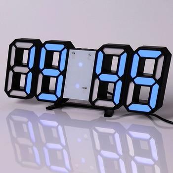 Led Digital Wall Clock Modern Design Watch Clocks 3D Living Room Decor Table  Alarm Nightlight Luminous Desktop 9