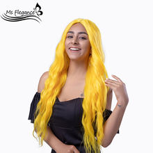 MS FLEGANCE Long Yellow Water Wave Wig Synthetic For Women Blonde Black Natural Hair Female Wig Lolita Cosplay Wig Daily Party(China)