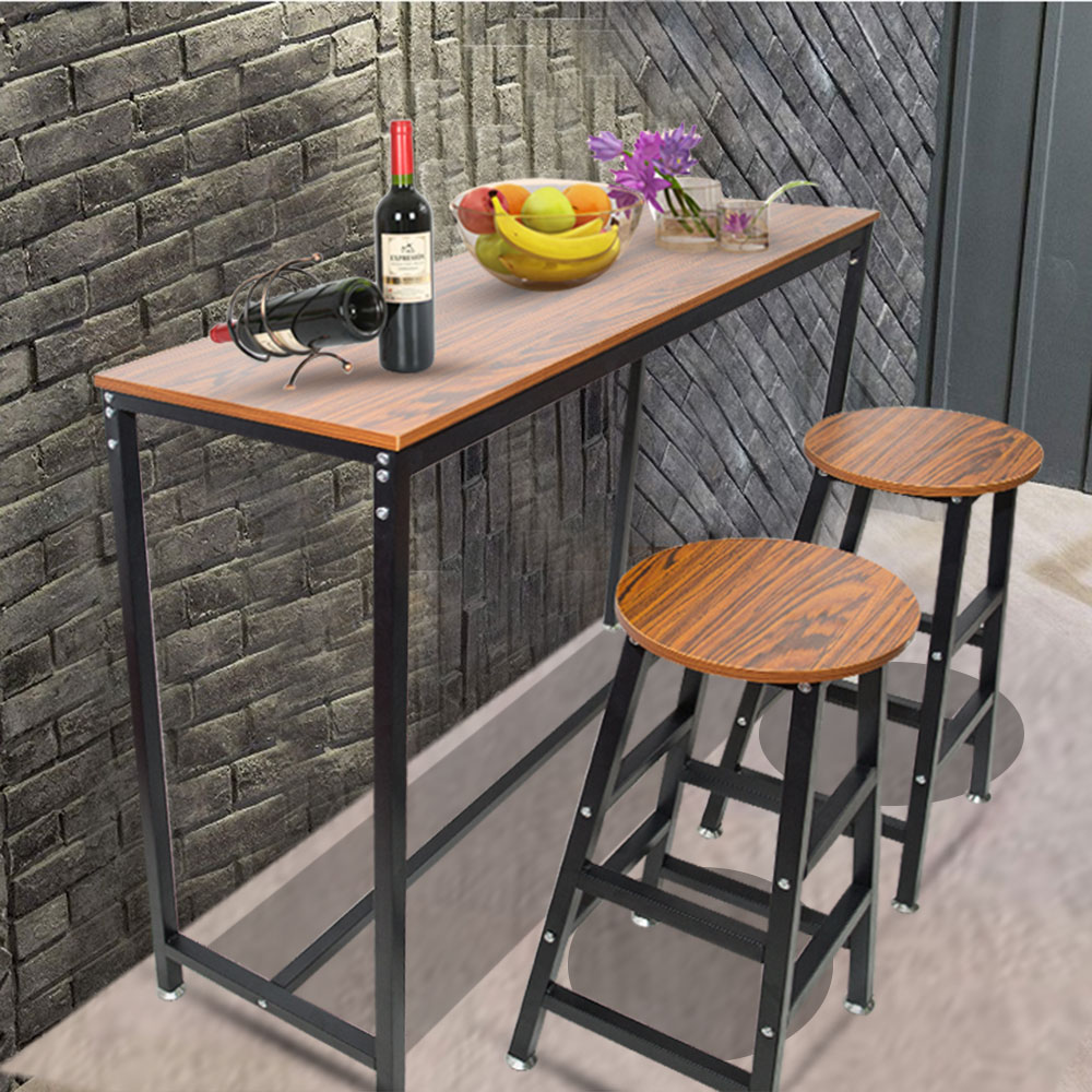 Hot Sale Pub Bars Wooden Table Vintage Rectangular Table With Metal Frame Home Office Kitchen Living Room Ship From US